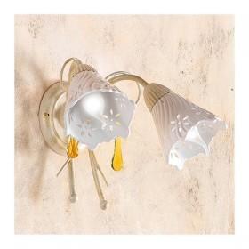 Applique lampada da parete a 2 luci con piatto in ceramica traforata country vintage – h 24 cm