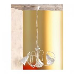 Lampada a sospensione a 3 luci in ferro e piatto in ceramica traforata country retrò – Ø 55 cm