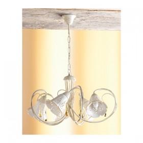 Lampe à Suspension 5 lumières de plaque de fer et percés en céramique vintage rétro – Ø 55 cm