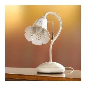 Lampada da tavolo a 1 luce in ferro con diffusore in ceramica traforata vintage country – h. 30 cm