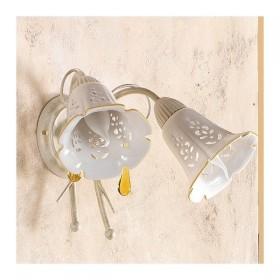 Wandleuchte wandleuchte 2 beleuchtung mit keramik-platte-lochblech-country-vintage – h 24 cm