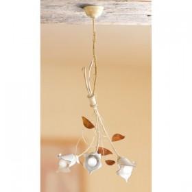 Lampe à Suspension 3 lumières en fer forgé et céramique plaque de calla lily pays rétro – Ø 44 cm