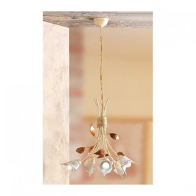 Lampada a sospensione a 5 luci in ferro e piatto in ceramica a calla vintage retrò – Ø 44 cm