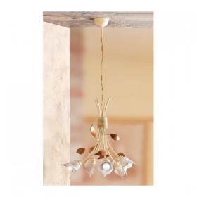Suspension lamp 5 lights iron and ceramic plate calla vintage-retro - Ø 44 cm