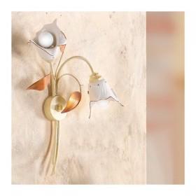 Applique lampada da parete a 1 luce con diffusore in ceramica a calla retrò country – h. 50 cm