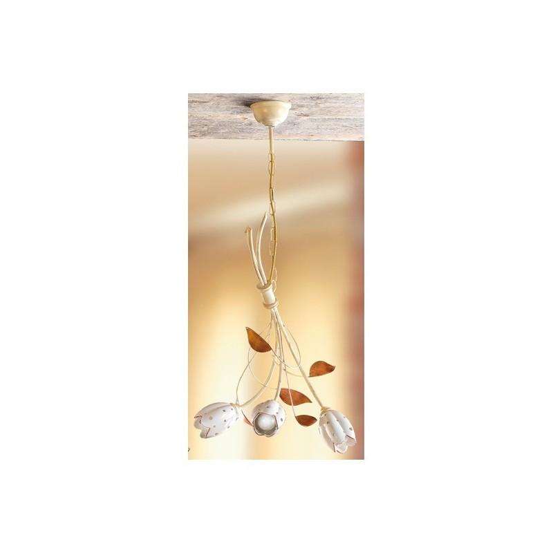 De Cm – Rétro Ø En Suspension Lumières Lampe Vintage Et Plaque 44 Fer Céramique 3 À Tulipe Forgé 5jA4LR