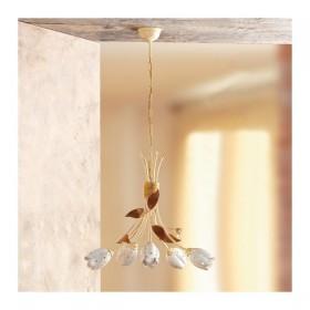 Suspension lamp 5 lights iron and ceramic plate tulioano retro-rustic - Ø 55 cm