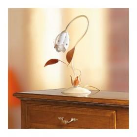 Lampada da tavolo a 1 luce in ferro con diffusore in ceramica a tulioano vintage retrò – h. 40 cm