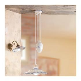 Lustre hauts et des bas avec contre-poids et de l'ombre de lampe en céramique, plissé, et décoré rustique-vintage – Ø 38 cm