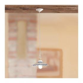 Lustre lampe pendentif en céramique plissé et orné, rustique-country – Ø 28 cm