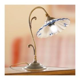 Lampada da tavolo in ottone e diffusore in ceramica plissettata e decorata vintage retrò - h.35 cm