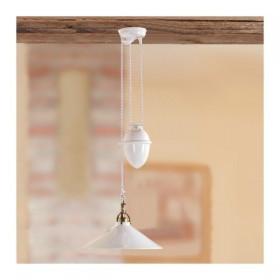 Lustre hauts et des bas avec contre-poids et de l'ombre de lampe en céramique lisse brillant rustique, vintage – Ø 35 cm