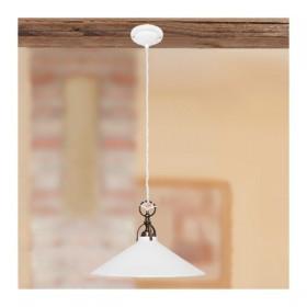 Kronleuchter pendelleuchte mit lampenschirm aus weißem keramik, glatte, glänzende, rustikale country – Ø 26 cm