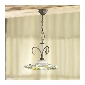 Lampe à Suspension en fer 1 lumière avec plaque en céramique, ondulés et décoration florale, Ø 41 cm