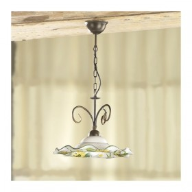 Suspension lamp in iron 1 light with ceramic plate, wavy and floral decoration, - Ø 41 cm
