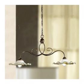 Lampe de rocker 2 lumières en fer avec des plaques en céramique, carton ondulé décoré vintage rustique – Ø 96 cm