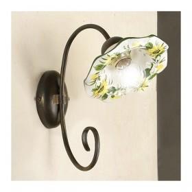 Appliques lampe de mur 1-lumière de fer avec une télévision abat-jour en céramique décorée en carton ondulé rétro vintage - h.