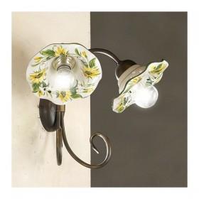 Applique lampe murale à 2 lumières en fer avec abat-jour, de la céramique décorée en carton ondulé pays rustique - h. 30 cm