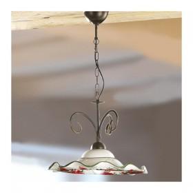 Hängelampe aus eisen in 1-licht-mit-keramik-platte gewellt und dekor floral – Ø 41 cm