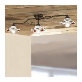 Plafonnier lampe de plafond de fer de 3 lumières avec abat-jour en céramique ondulé décorées dans le charme rustique de pays -