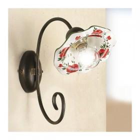 Applique lampe murale à 1 lumière en laiton, plaque en céramique rétro vintage - h. 29 cm