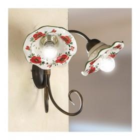 Applique lampe murale 2 lumières avec abat-jour, de la céramique décorée en carton ondulé pays rustique - h. 30 cm
