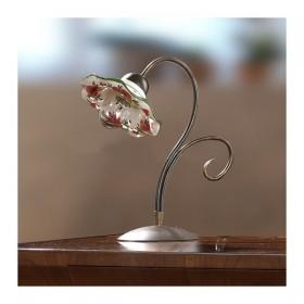 Lampada da tavolo in ottone e ceramica ondulata e decorata vintage retrò - h.37 cm