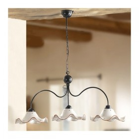 Lamp rocker 3 lights with ceramic plates, corrugated decorated vintage country - Ø 116 cm