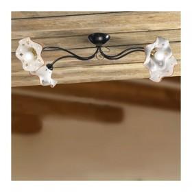 Plafonnier plafonnier 4 lumières avec abat-jour en céramique ondulé décorées dans le charme rustique de pays - Ø 80 cm