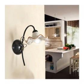 Wandleuchte wandleuchte mit 1 licht mit flachbild-schirm aus keramik, wellblech verziert retro-country - h. 32 cm