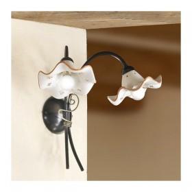 Wandleuchte lampe wand mit 2 leuchten mit lampenschirme keramik wellenlinie verziert, retro, rustikal - h. 37 cm