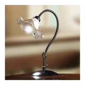 Lampada da tavolo con piatto in ceramica ondulata e decorata vintage retrò - h.37 cm