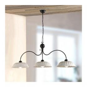 Lampe à bascule 3 lumières avec des plaques en céramique plissé, perforé, rétro-pays – Ø 116 cm