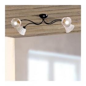 Plafoniera lampada da soffitto a 4 luci con paralumi in ceramica plissettata e traforata country vintage - Ø 80 cm