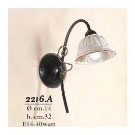 Wandleuchte wandleuchte mit 1 licht mit flachbild-schirm aus keramik plissee perforiertes country rustikal - h. 32 cm