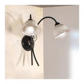 Applique lampe murale 2 lumières avec abat-jour, de la céramique, plissé perforé rétro-rustique - h. 37 cm