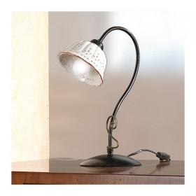 Lampada da tavolo e diffusore in ceramica plissettata e traforata vintage retrò - h.37 cm