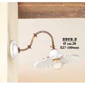 Appliques lampe de mur en laiton et abat-jour en céramique blanche plissée rétro pays – Ø 28 cm