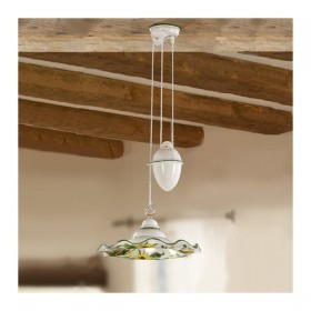 Chandelier ups and downs with counter weight and lamp shade in ceramic with floral decoration-rustic-vintage - Ø 41 cm