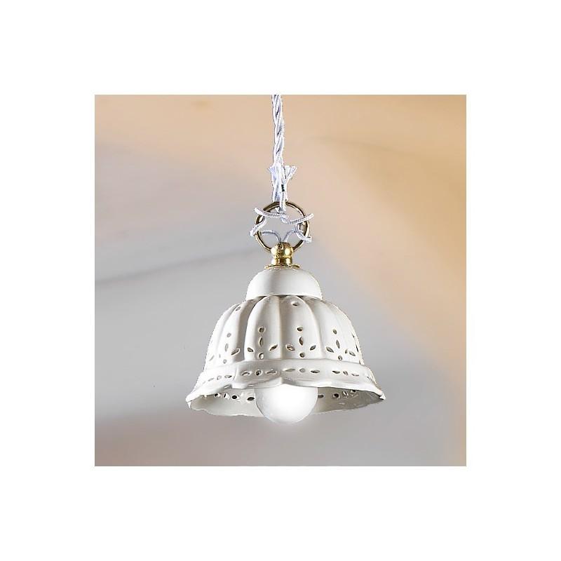 Lampadario a sospensione con paralume in ceramica plissettata e traforata  classico rustico – Ø 14 cm