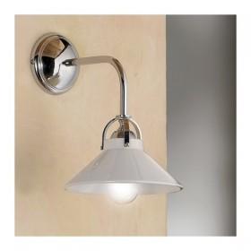 Applique lampe murale 1 lumière laiton chromé avec un plat en céramique blanc brillant rétro - h. 26 cm