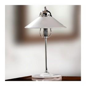Lampada da tavolo in ottone cromato con diffusore in ceramica bianca liscia e lucida retrò - h.45 cm