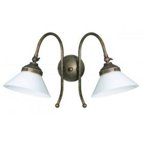Wandleuchte in messing mit 2 leuchten qualität brüniert lampenschirm glas weiß