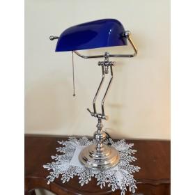 Lampe Churchill chrome verre BLEU - HAUTEUR 47 CM