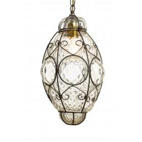 Lucerna linterna en veneciano soplado de vidrio en una jaula de hierro – H 28 / 35 cm