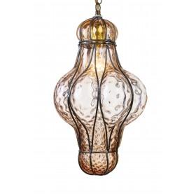 Lucerna linterna en veneciano soplado de vidrio en una jaula de hierro a la Altura de 32 cm (Ámbar, Transparente, Rosa)