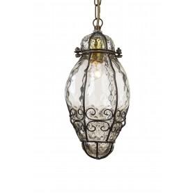 Lustre pendentif de lumière de lampe en verre vénitien 1 éclairage fabriqués à la main et soufflé à l'intérieur d'une cage en fe