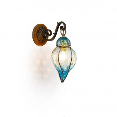 Lucerne lantern in venetian Onion blown glass in a cage of iron Height of 22 cm (Amber, Clear, Pink, Blue)