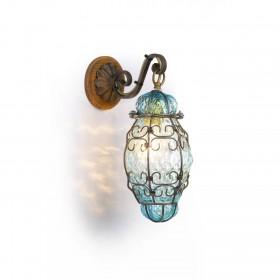 Lucerne lanterne Vénitienne bleu en verre soufflé dans une cage de fer