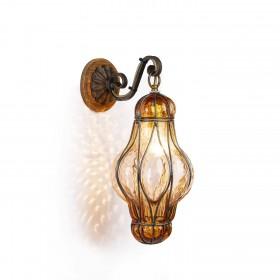 Lucerne lanterne en vénitien en verre soufflé dans une cage de fer à Hauteur de 32 cm (Ambre, Clair, Rose)